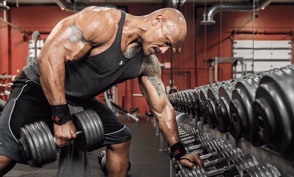 dwayne-johnson-the-rock-workout-weights-muscle-physique-exercise-tattoos