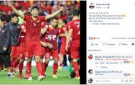 Văn Lâm, Văn Hậu gửi thông điệp 'đốn tim' NHM sau khi đả bại Jordan