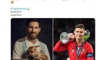 CĐV dùng Ronaldo chế giễu Messi: 'Anh ta vẫn ở đó ôm chú dê và tự nhận là G.O.A.T'