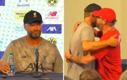 Phản ứng hài hước của Klopp khi phóng viên nam xin được ôm