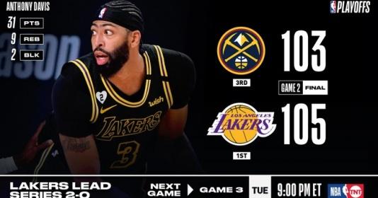 Kết quả NBA 21/9: AD thực hiện game-winner, Lakers thắng nghẹt thở Nuggets