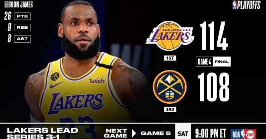 Kết quả NBA 25/9: Giữ vững lợi thế, Lakers hạ gục Nuggets