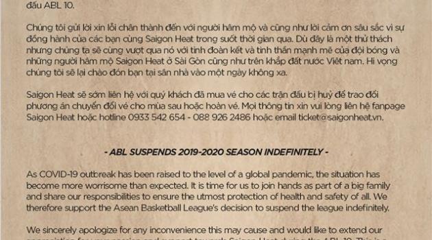 Chính thức! Ban tổ chức ABL ra quyết định cuối, Saigon Heat bày tỏ sự ủng hộ