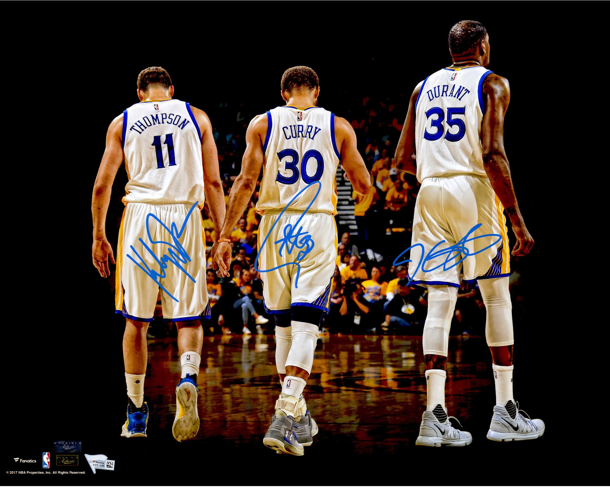 stephen-curry-klay-thompson-kevin-durant-golden-state-warriors-autographed-16-x-20-2017-nba-finals-champions-walking-away-photograph5-t7270459-2000
