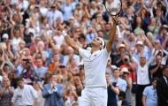 Federer ăn mừng đầy cảm xúc khi hạ Nadal để vào chung kết Wimbledon