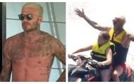 Beckham xăm kín ngực, phấn khích ngồi sau tay lái của con gái 10 tuổi