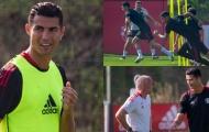 Ronaldo tập buổi đầu tiên với Man Utd: Dalot trầm trồ, đua tốc độ cùng Greenwood