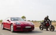 Cuộc đối đầu nảy lửa giữa Porsche Panamera cùng 'Quỷ dữ' Ducati Monster 975