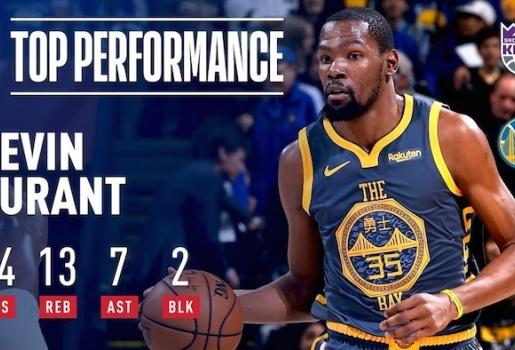 Video Durant cháy 44 điểm trong ngày Warriors thắng nhọc Kings