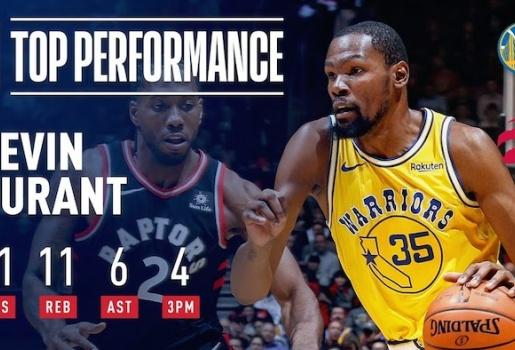 Video 51 điểm của Durant trong ngày Warriors phơi xác ở hang khủng long